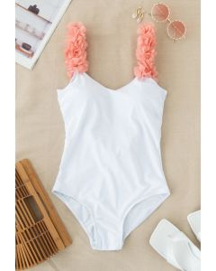 3D Floral Straps Scoop Back Swimsuit in White