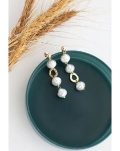 Pearl and Gold Circle Drop Earrings