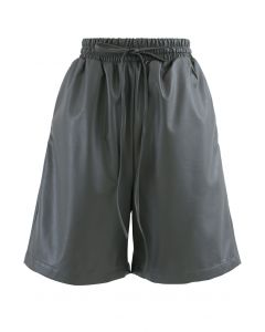 Drawstring PU Leather Shorts in Grey