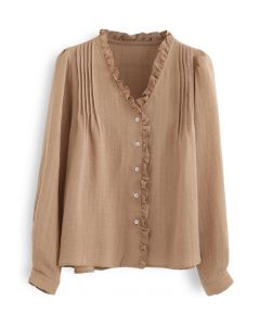 Ruffle Trims V-Neck Shirt in Tan