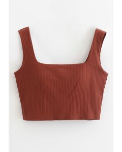 Simple Lines Bandeau Tank Top in Rust Red