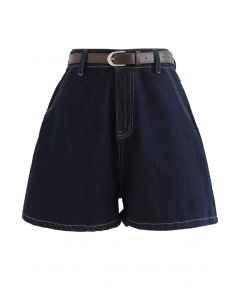 Navy Denim High-Waist Mom Shorts with Belt