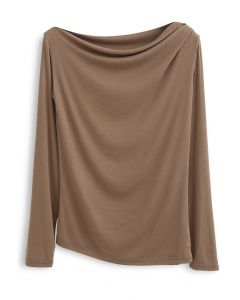Drape Neck Long Sleeves Top in Camel