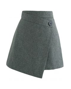 Button Flap Wool-Blended Mini Skirt in Dark Green
