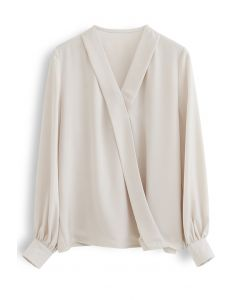 Satin Surplice Neck Sleeves Top in Cream