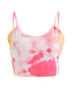 Tie-Dye Crop Tank Top in Pink