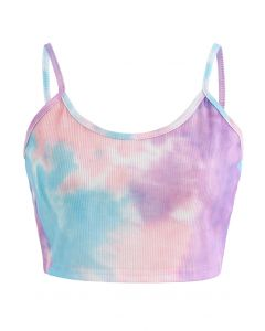 Tie-Dye Crop Tank Top in Purple