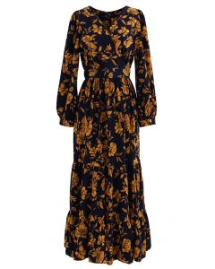 Floral Print Wrap Ruffle Maxi Dress in Navy