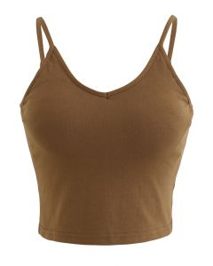 Cropped Rib Cami Tank Top in Brown