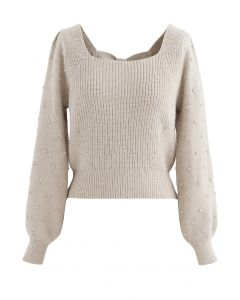 Bowknot Back Square Neck Knit Sweater in Light Tan