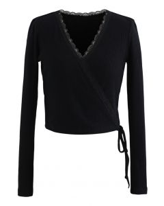 Lace Trim Wrap Knit Top in Black