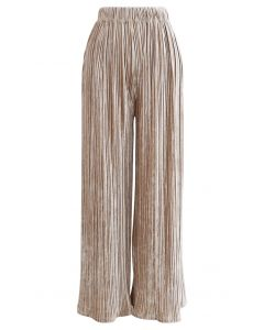 Pleated Velvet Wide Leg Pants in Tan