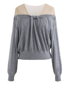 Mesh Shoulder Drape Neck Knit Sweater in Grey