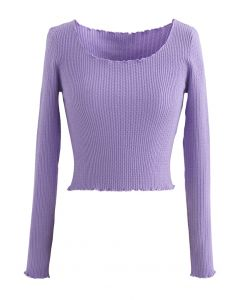 Lettuce-Hem Crop Knit Top in Purple