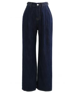 Belted Wide-Leg Pocket Jeans in Navy
