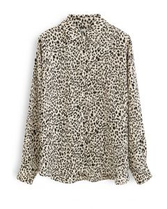 Leopard Print Button Down Hi-Lo Shirt