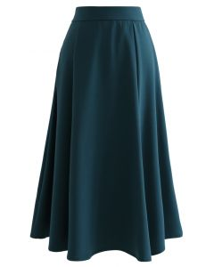Seam Detail Flare Hem Midi Skirt in Teal