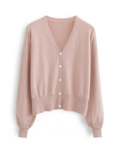 V-Ausschnitt Button Down gerippte Strickjacke in Pink