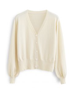 V-Neck Button Down Ribbed Knit Cardigan in Cream