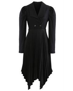 Asymmetrisches Plissee-Blazer-Kleid mit Knöpfen