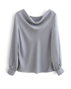 Satin Drape Neck Versatile Shirt in Dusty Blue