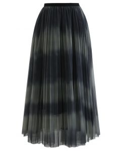 Color-Block Mesh Tulle Plissee Midirock in Oliv
