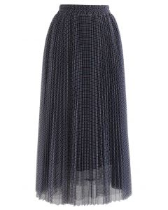 Gingham Double-Layered Pleated Mesh Midi Skirt in Navy