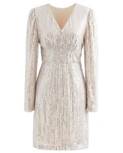 Shimmer Sequin Padded Shoulder Mesh Dress in Gold
