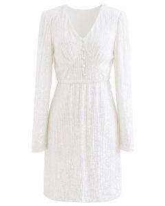 Shimmer Sequin Padded Shoulder Mesh Kleid in Perlweiß