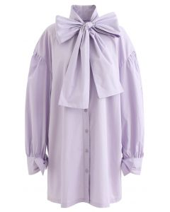 Bowknot Button Down Tunic Shirt Dress in Purple
