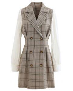 Zweireihiges Blazer-Kleid mit Kontrastärmeln