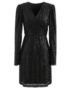 Shimmer Sequin Padded Shoulder Mesh Kleid in Schwarz