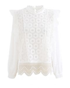Sunflower Full Lace Long Sleeves Top in Weiß