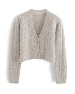 V-Neck Fuzzy Knit Crop Cardigan in Taupe