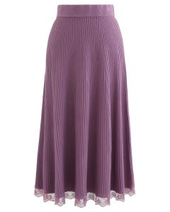 A-Line Lace Hem Knit Skirt in Purple