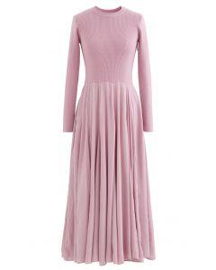 Knit Spliced Long Sleeves Maxi Dress in Pink