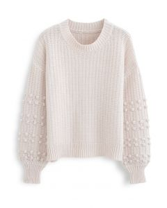 Bubble-Sleeve with Pom-Pom Detail Sweater in Cream