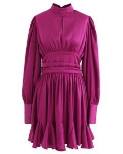 High Neck Puff Sleeves Satin Ruffle Dress in Magenta