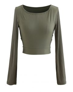 Self-Tie Waist Long Sleeves Cropped Sports Top in Olive