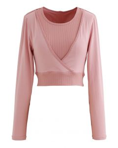 Fake Two-Piece Sleeves Cropped Sports Top in Pink