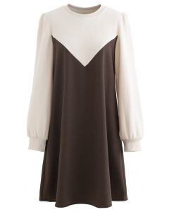 Casual Two-Tone Sweatshirt Dress in Brown
