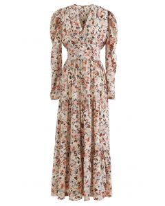 V-Neck Puff Shoulders Floral Maxi Dress in Sand