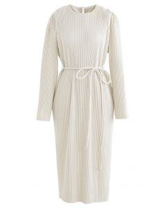 Self-Tied String Pleated Suede Midi Dress in Cream