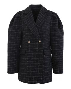 Tweed Puff Shoulders Pockets Coat in Black
