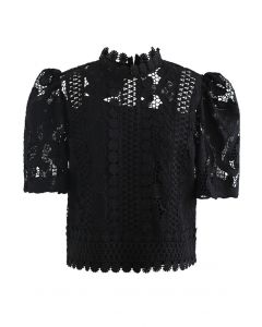 Panelled Sunflower Crochet Crop Top in Black