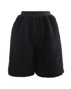 Sherpa Pockets Shorts in Black