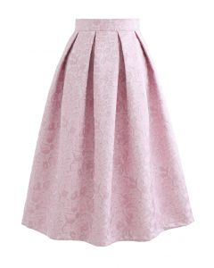 Pink Blossom Jacquard Pleated Midi Skirt