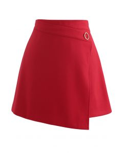 O-Ring Detail Asymmetric Hem Mini Skirt in Red