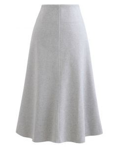 Seamed Detail Wool-Blend Flare Skirt