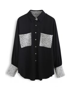 Textured Weave Spliced Buttoned Shirt in Black